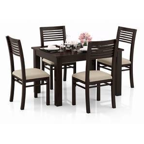 Arabia 4-to-6 Extendable - Zella 4 Seater Dining Table Set (Mahogany Finish, Wheat Brown) by Urban Ladder