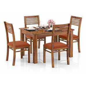 Arabia 4-to-6 Extendable - Zella 4 Seater Dining Table Set (Teak Finish, Burnt Orange) by Urban Ladder