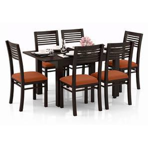 Arabia 4-to-6 Extendable - Zella 6 Seater Dining Table Set (Mahogany Finish, Burnt Orange) by Urban Ladder