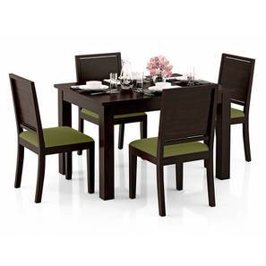 Arabia 4-to-6 Extendable - Oribi 4 Seater Dining Table Set (Mahogany Finish, Avocado Green) by Urban Ladder