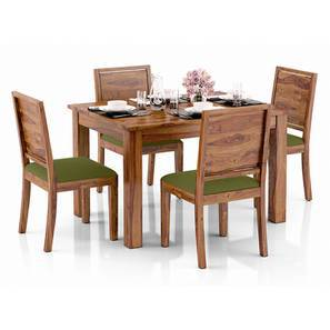 Arabia 4-to-6 Extendable - Oribi 4 Seater Dining Table Set (Teak Finish, Avocado Green) by Urban Ladder