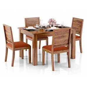 Arabia 4-to-6 Extendable - Oribi 4 Seater Dining Table Set (Teak Finish, Burnt Orange) by Urban Ladder