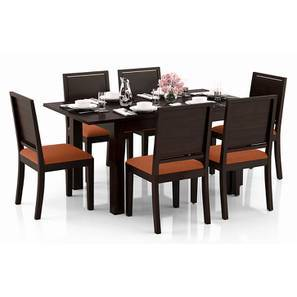 Arabia 4-to-6 Extendable - Oribi 6 Seater Dining Table Set (Mahogany Finish, Burnt Orange) by Urban Ladder