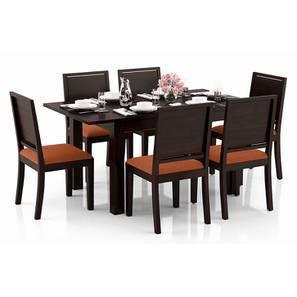 Arabia 4-to-6 Extendable - Oribi 6 Seater Dining Table Set (Mahogany Finish, Burnt Orange) by Urban Ladder