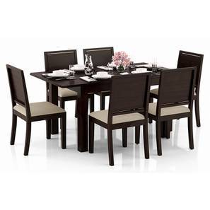 Arabia 4-to-6 Extendable - Oribi 6 Seater Dining Table Set (Mahogany Finish, Wheat Brown) by Urban Ladder