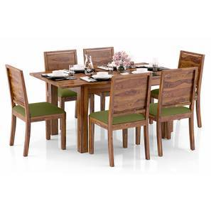 Arabia 4-to-6 Extendable - Oribi 6 Seater Dining Table Set (Teak Finish, Avocado Green) by Urban Ladder