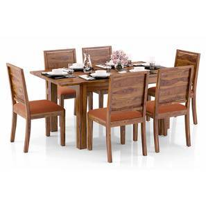 Arabia 4-to-6 Extendable - Oribi 6 Seater Dining Table Set (Teak Finish, Burnt Orange) by Urban Ladder