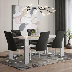 Kariba - Ingrid 6 Seater High Gloss Dining Table Set (Dark Grey, White High Gloss Finish) by Urban Ladder