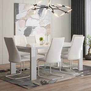 Kariba - Ingrid 6 Seater High Gloss Dining Table Set (White, White High Gloss Finish) by Urban Ladder