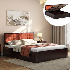 Florence Hydraulic Storage Bed (Mahogany Finish, Queen Bed Size, Lava) by Urban Ladder