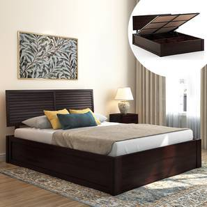 Terence Hydraulic Storage Bed (Mahogany Finish, King Bed Size) by Urban Ladder