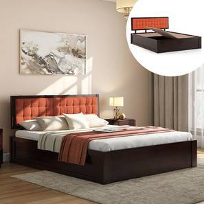 Florence Storage Bed (Mahogany Finish, Queen Bed Size, Lava, Box Storage Type) by Urban Ladder