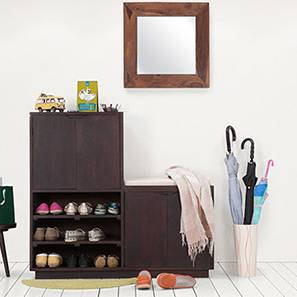 Wellington Shoe Rack & Bench (Mahogany Finish, Right Aligned) by Urban Ladder