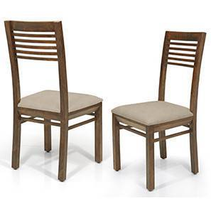 Zella Dining Chairs - Set of 2 (Teak Finish, Wheat Brown) by Urban Ladder