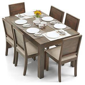 Arabia - Oribi 6 Seater Dining Table Set (Teak Finish, Wheat Brown) by Urban Ladder