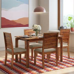 Catria - Oribi 4 Seater Dining Table Set (Teak Finish, Wheat Brown) by Urban Ladder