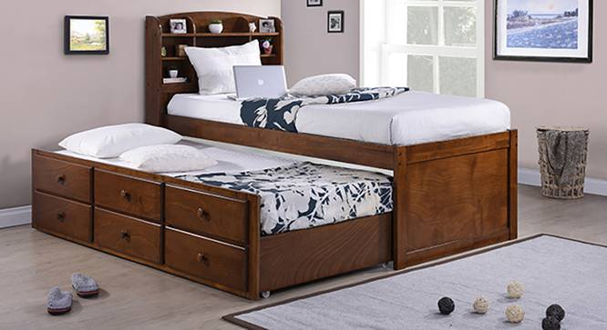 Ateneo Storage Headboard Single Bed with Trundle and Storage (Single Bed Size, Polished Cherry Finish) by Urban Ladder