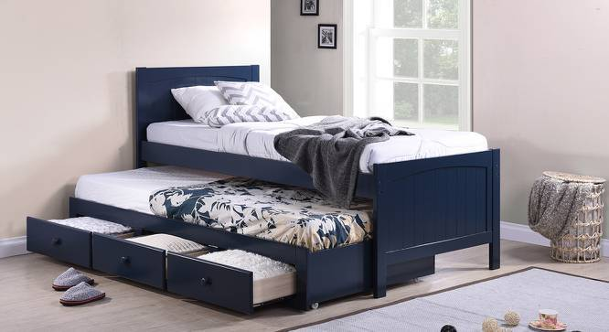 Bering Single Bed with Trundle and Storage (Single Bed Size, Blue Finish) by Urban Ladder
