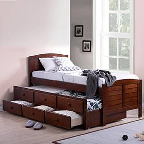 Fitzroy Single Bed with Trundle and Storage (Single Bed Size, Dark Walnut Finish) by Urban Ladder
