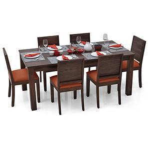 Arabia XL - Oribi 6 Seater Dining Set (Mahogany Finish, Burnt Orange) by Urban Ladder