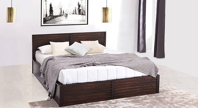 Rille Box Storage Bed (Mahogany Finish, Queen Bed Size) by Urban Ladder