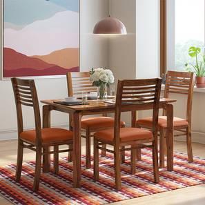 Catria - Zella 4 Seater Dining Table Set (Teak Finish, Burnt Orange) by Urban Ladder