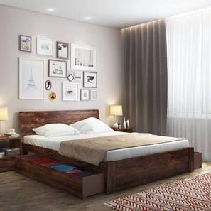 Boston Storage Bed (Teak Finish, King Bed Size, Drawer Storage Type) by Urban Ladder