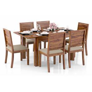 Arabia 4-to-6 Extendable - Oribi 6 Seater Dining Table Set (Teak Finish, Wheat Brown) by Urban Ladder
