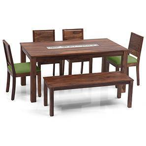 Brighton - Large Oribi 6 Seater Dining Table Set (With Bench) (Teak Finish, Avocado Green) by Urban Ladder