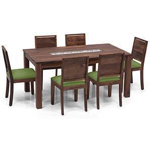 Brighton Large - Oribi 6 Seater Dining Table Set (Teak Finish, Avocado Green) by Urban Ladder