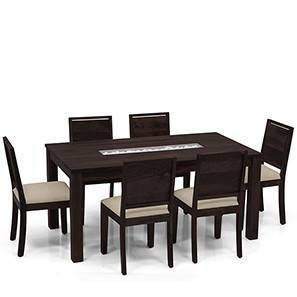 Brighton Large Oribi 6 Seater Dining Table Set Mahogany Finish Wheat Brown
