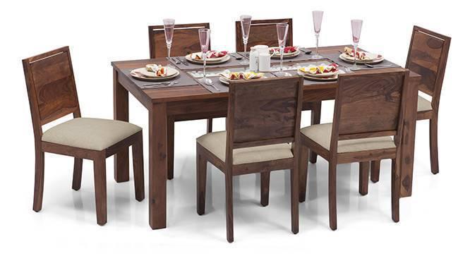 Brighton Large - Oribi 6 Seater Dining Table Set (Teak Finish, Wheat Brown) by Urban Ladder