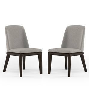 Taarkashi Dining Chair - Set Of 2 (American Walnut Finish, Gainsboro Grey) by Urban Ladder