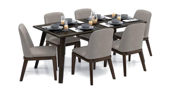 Taarkashi 6-Seater Dining Table Set (American Walnut Finish, Gainsboro Grey) by Urban Ladder
