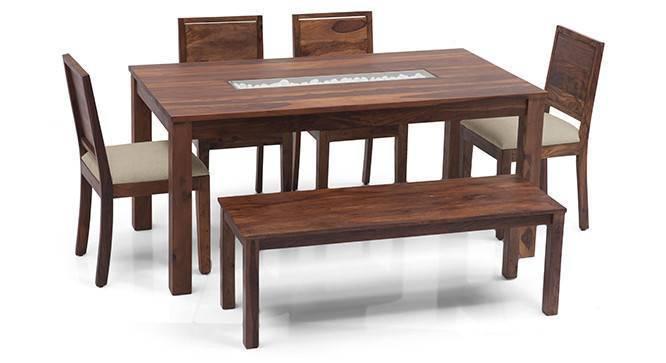 Brighton - Large Oribi 6 Seater Dining Table Set (With Bench) (Teak Finish, Wheat Brown) by Urban Ladder
