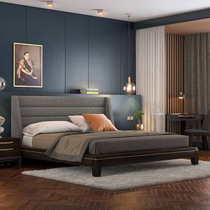 Taarkashi Upholstered Bed (King Bed Size, American Walnut Finish, Abbott Grey) by Urban Ladder