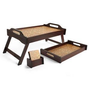 Mumtaz Medium Tray with Coaster and Breakfast Tray (Multi Colour) by Urban Ladder