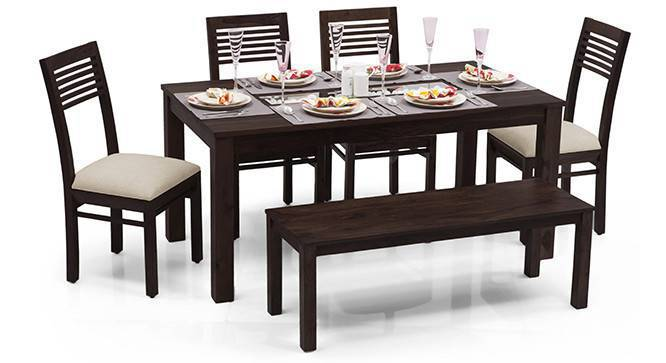 Brighton Large - Zella 6 Seater Dining Table Set (With Bench) (Mahogany Finish, Wheat Brown) by Urban Ladder