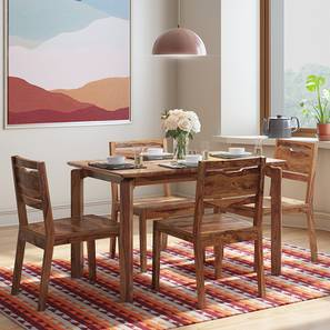 Catria - Aries 4 Seater Dining Table Set (Teak Finish) by Urban Ladder