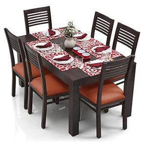 Arabia - Zella 6 Seater Dining Table Set (Mahogany Finish, Burnt Orange) by Urban Ladder