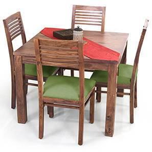 Arabia Square - Zella 4 Seater Dining Table Set (Teak Finish, Avocado Green) by Urban Ladder