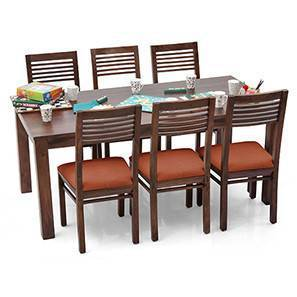 Arabia XL - Zella 6 Seater Dining Set (Mahogany Finish, Burnt Orange) by Urban Ladder