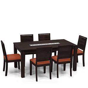 Brighton Large - Oribi 6 Seater Dining Table Set (Mahogany Finish, Burnt Orange) by Urban Ladder