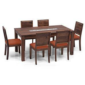 Brighton Large - Oribi 6 Seater Dining Table Set (Teak Finish, Burnt Orange) by Urban Ladder