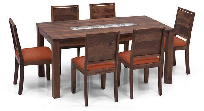 Brighton Large - Oribi 6 Seater Dining Table Set (Teak Finish, Burnt Orange) by Urban Ladder