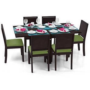Danton 3-to-6 - Oribi 6 Seater Folding Dining Table Set (Mahogany Finish, Avocado Green) by Urban Ladder