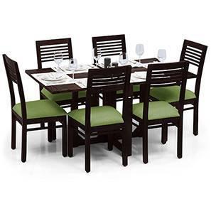 Danton 3-to-6 - Zella 6 Seater Folding Dining Table Set (Mahogany Finish, Avocado Green) by Urban Ladder