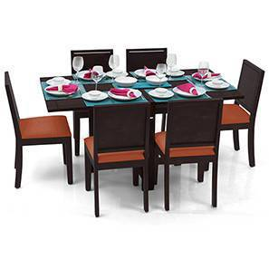 Danton 3-to-6 - Oribi 6 Seater Folding Dining Table Set (Mahogany Finish, Burnt Orange) by Urban Ladder