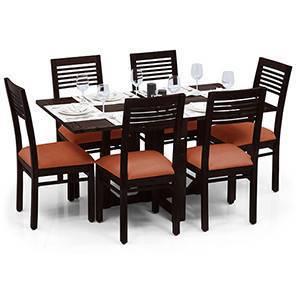 Danton 3-to-6 - Zella 6 Seater Folding Dining Table Set (Mahogany Finish, Burnt Orange) by Urban Ladder