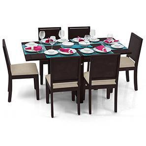 Danton 3-to-6 - Oribi 6 Seater Folding Dining Table Set (Mahogany Finish, Wheat Brown) by Urban Ladder